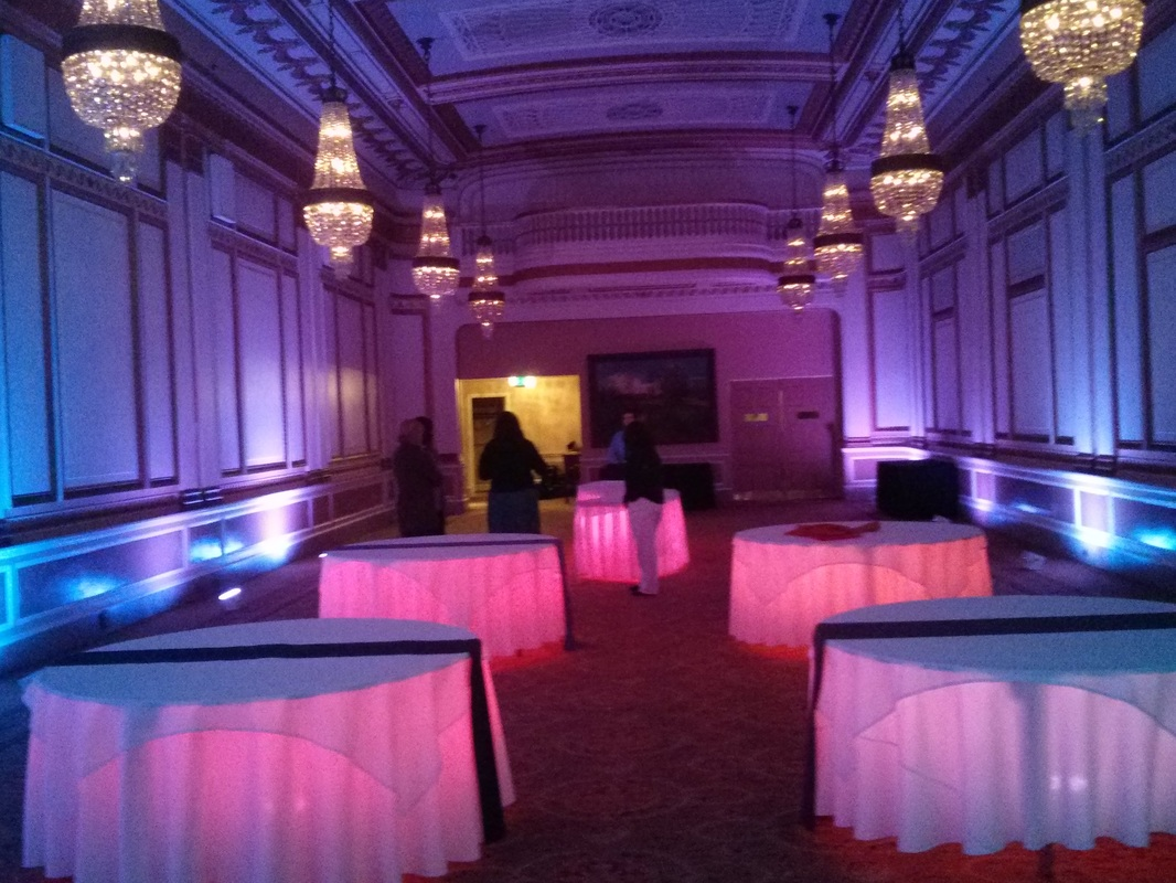 Crystal Bllroom uplighting uplights wedding the benson hotel portland
