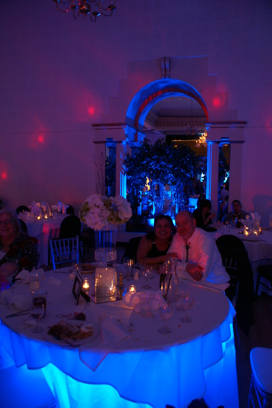 Melody Ballroom Uplighting, Drape Design, Portland, Undertable Lighting,  Wedding, Winter Wonderland