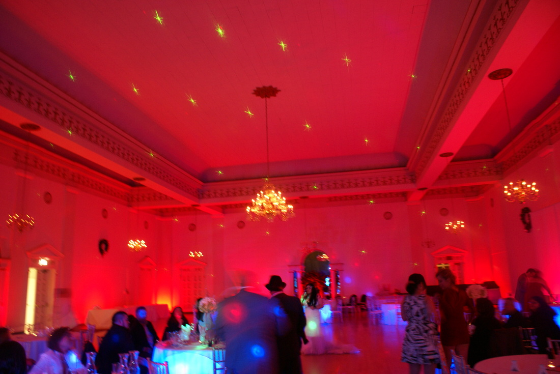 Melody Ballroom uplighting, drape design, Portland, undertable lighting, wedding, event lighting