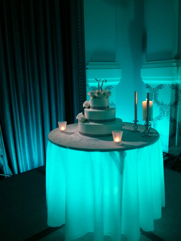 Embassy Suites Portland Uplight Uplighting Queen Marie Ballroom LED Wireless Vividlite under-table, cake table