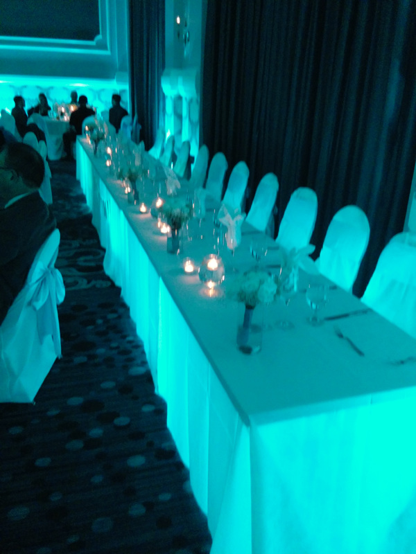 Embassy Suites Portland Uplight Uplighting Queen Marie Ballroom LED Wireless Vividlite under-table